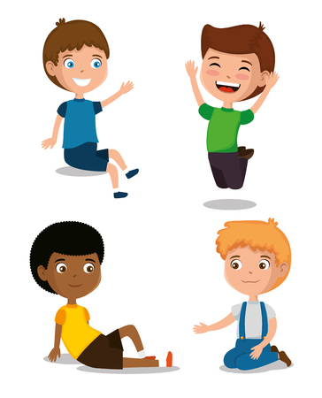 little boys happy characters vector illustration design