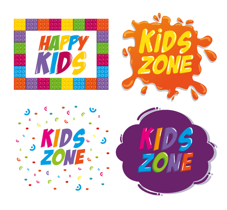 happy kids zone labels vector illustration design