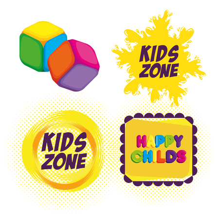 happy kids zone labels vector illustration design Stockfoto - 100027397