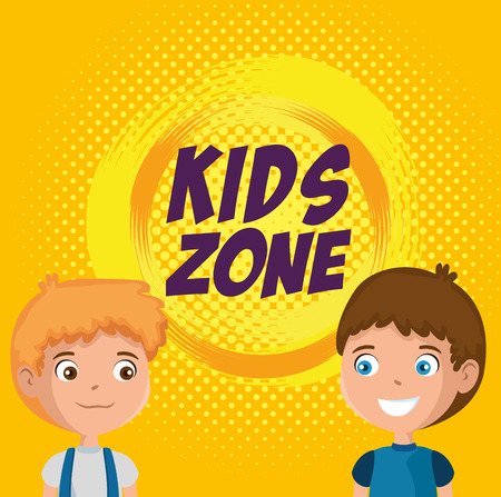 little boys happy characters with kids zone label vector illustration design