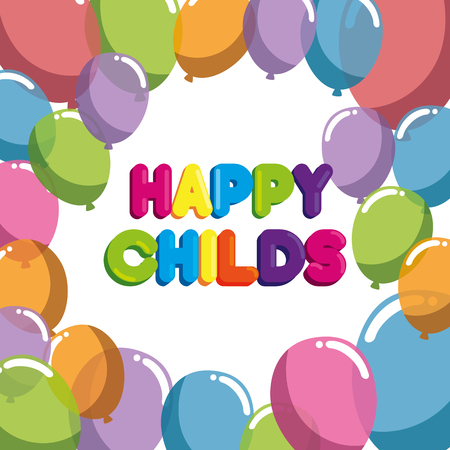 happy childs label with balloons air party vector illustration design Stock Illustratie