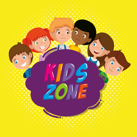 group of happy kids zone characters vector illustration design Vectores