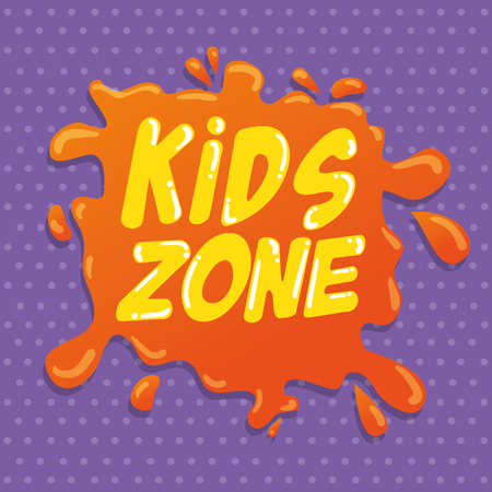 kids zone label splash icon vector illustration design Stock Illustratie