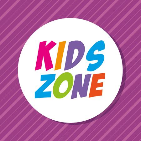 kids zone label circular vector illustration design