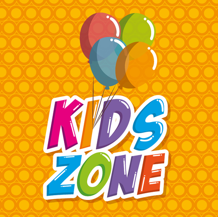 kids zone label with balloons air vector illustration design