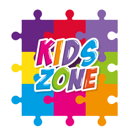 kids zone label with puzzle pieces vector illustration design