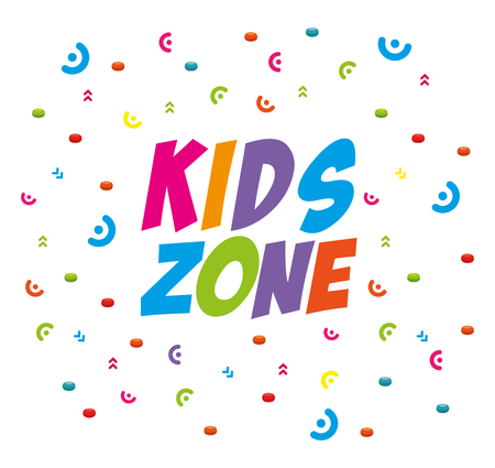 kids zone label with confetti vector illustration design Stockfoto - 100033505
