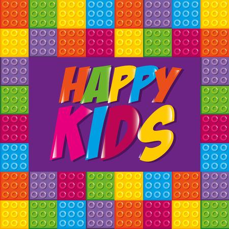 happy kids label with toy bricks vector illustration design