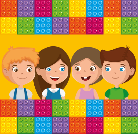 group of happy kids zone characters vector illustration design Ilustrace