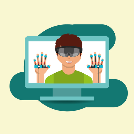 young man with virtual reality goggles gloves controller on screen pc vector illustration