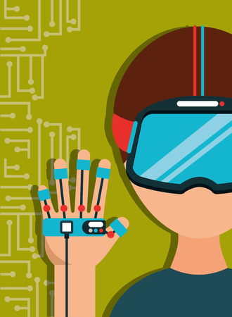 young man with virtual reality goggles and glove control game vector illustration Illustration