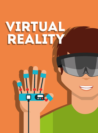 young man with virtual reality goggles and glove controller vector illustration