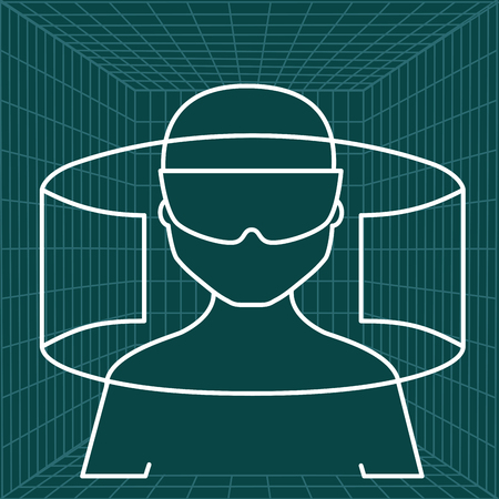 silhouette man glasses virtual reality 360 panorama green background vector illustration