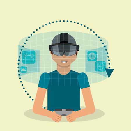 young man with virtual reality goggles and hologram vector illustration Illustration