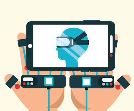 hand with wired gloves with smartphone virtual reality vector illustration