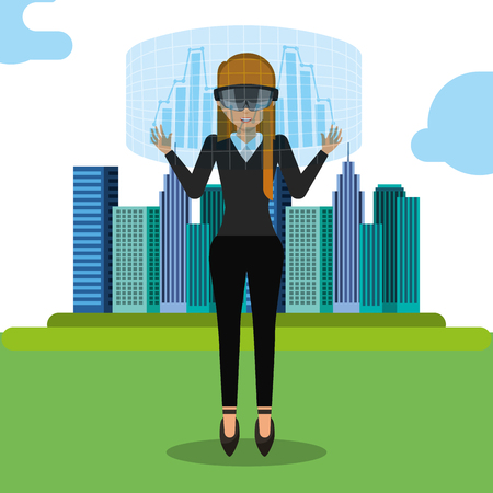 young woman virtual reality glasses and hologram city game vector illustration  イラスト・ベクター素材