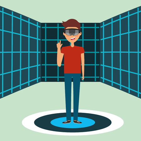 young man with virtual reality goggles on hologram space vector illustration