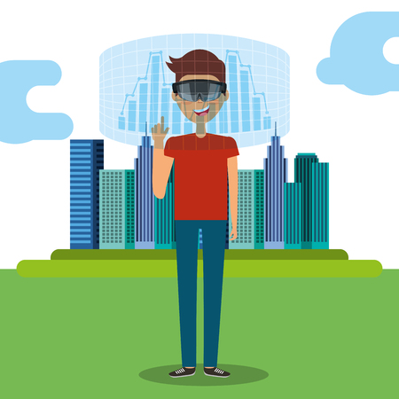 young man with virtual reality goggles and city hologram vector illustration