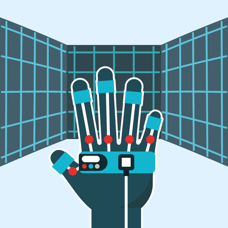 virtual reality wired glove hologram vector illustration