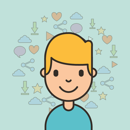 portrait young boy with social media icons background vector illustration