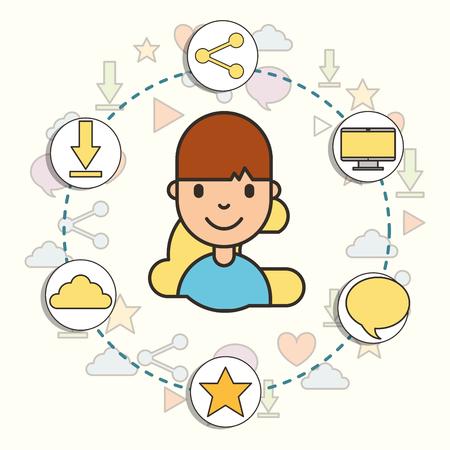 social media around happy boy digital technology vector illustration