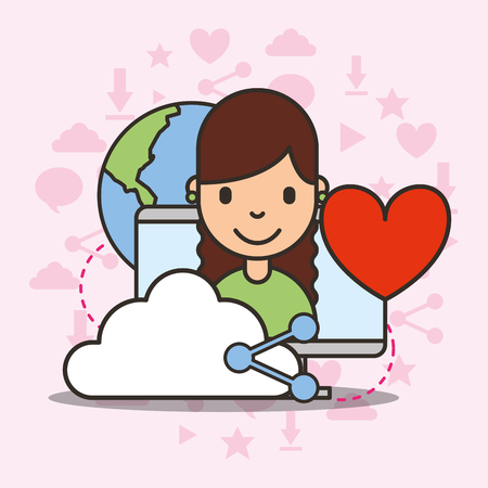 cute girl on computer screen cloud share love world social media vector illustration Çizim