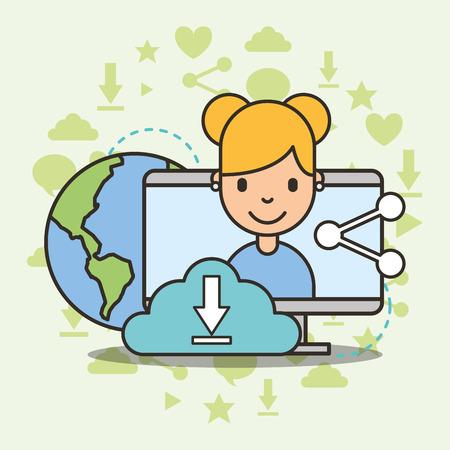 cute girl on computer screen cloud computing share world social media vector illustration  イラスト・ベクター素材