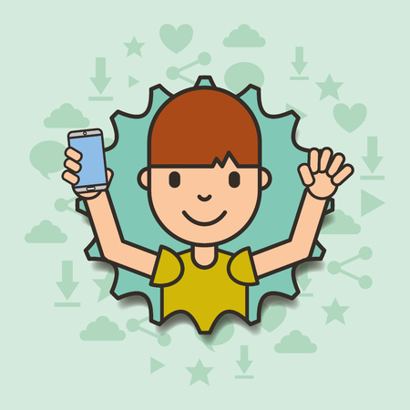 boy holding smartphone with torn paper edges vector illustration