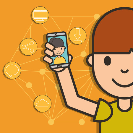 teen boy holding smartphone girl on screen connected social media vector illustration
