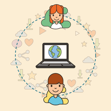 teeenagers with laptop with world on screen connected social media vector illustration