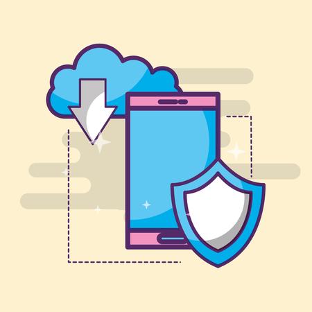 smartphone clod storage download shield vector illustration