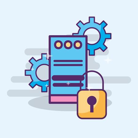data center server technology cyber secuirty vector illustration Illustration