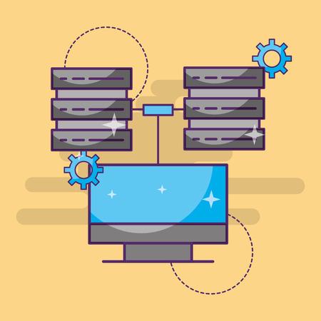 computer data server center setting technology vector illustration Illustration