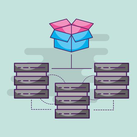 data server center hosting connection storage vector illustration Illustration