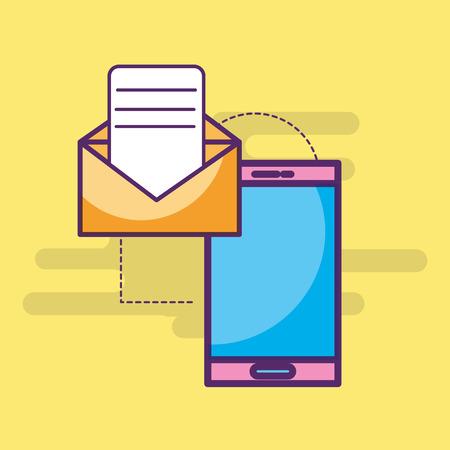 smartphone email message letter sending vector illustration