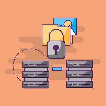 data center technology security folder vector illustration Illustration