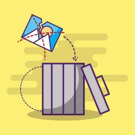 digital trash can garbage broken photo vector illustration Illustration