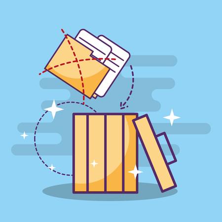 folder files documents on trash can vector illustration