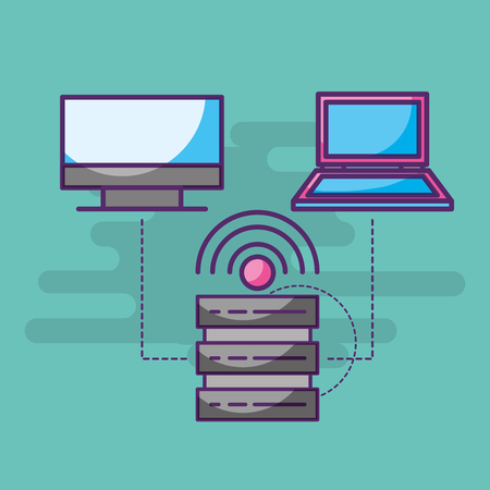 data base server laptop computer trasnfer internet signal vector illustration Illustration