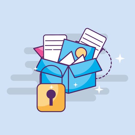 cyber security storage box with files vector illustration