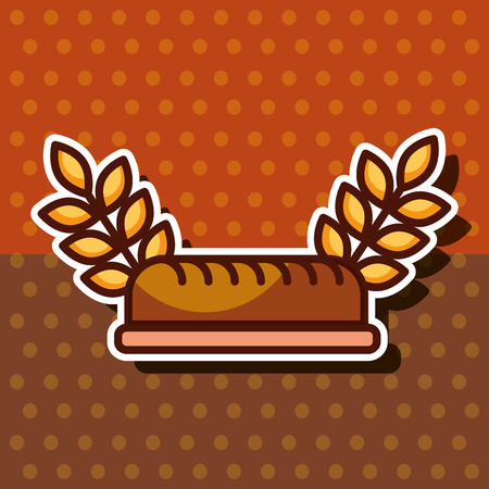 bakery whole bread wheat ears dots background vector illustration