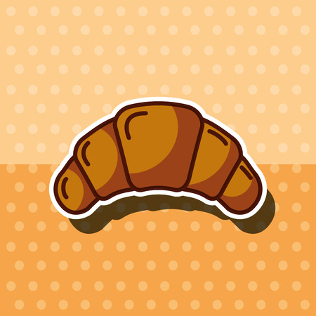 fresh croissant bakery product dots background vector illustration