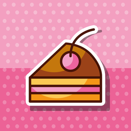 slice cake with fruit bakery dessert product vector illustration