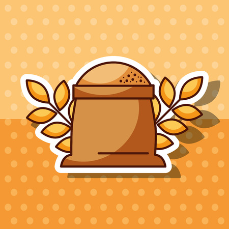 bakery products sack of flour ingredient wheat ears vector illustration