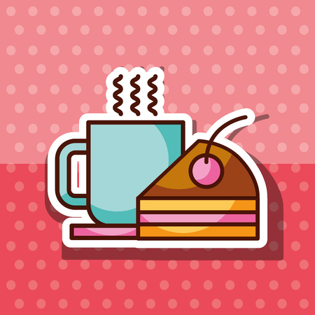 bakery products hot coffee cup and sliced cake vector illustration Иллюстрация