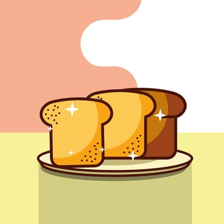 slice breaf fresh bakery on dish vector illustration