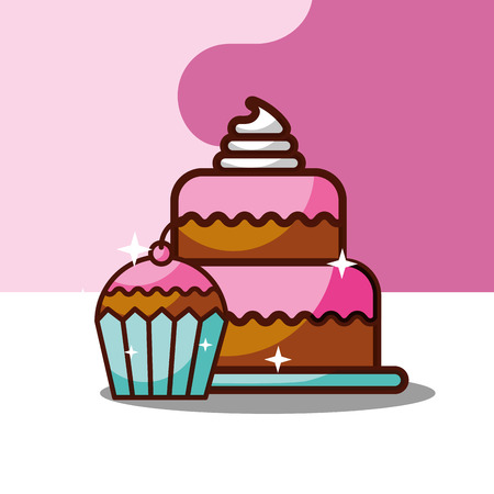 delicious cake and cupcake dessert vector illustration