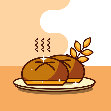 fresh bun bread wheat ears on dish vector illustration Banque d'images - 100193959
