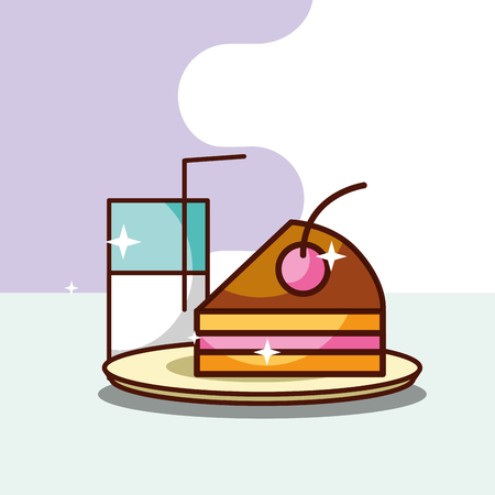 tasty milk glass and slice cake dessert vector illustration
