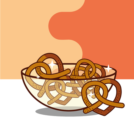 crystal bowl with pretzels bakery product vector illustration